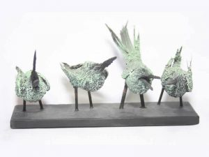 Sculpture of 4 Bee-eaters by James R. Pyne.
